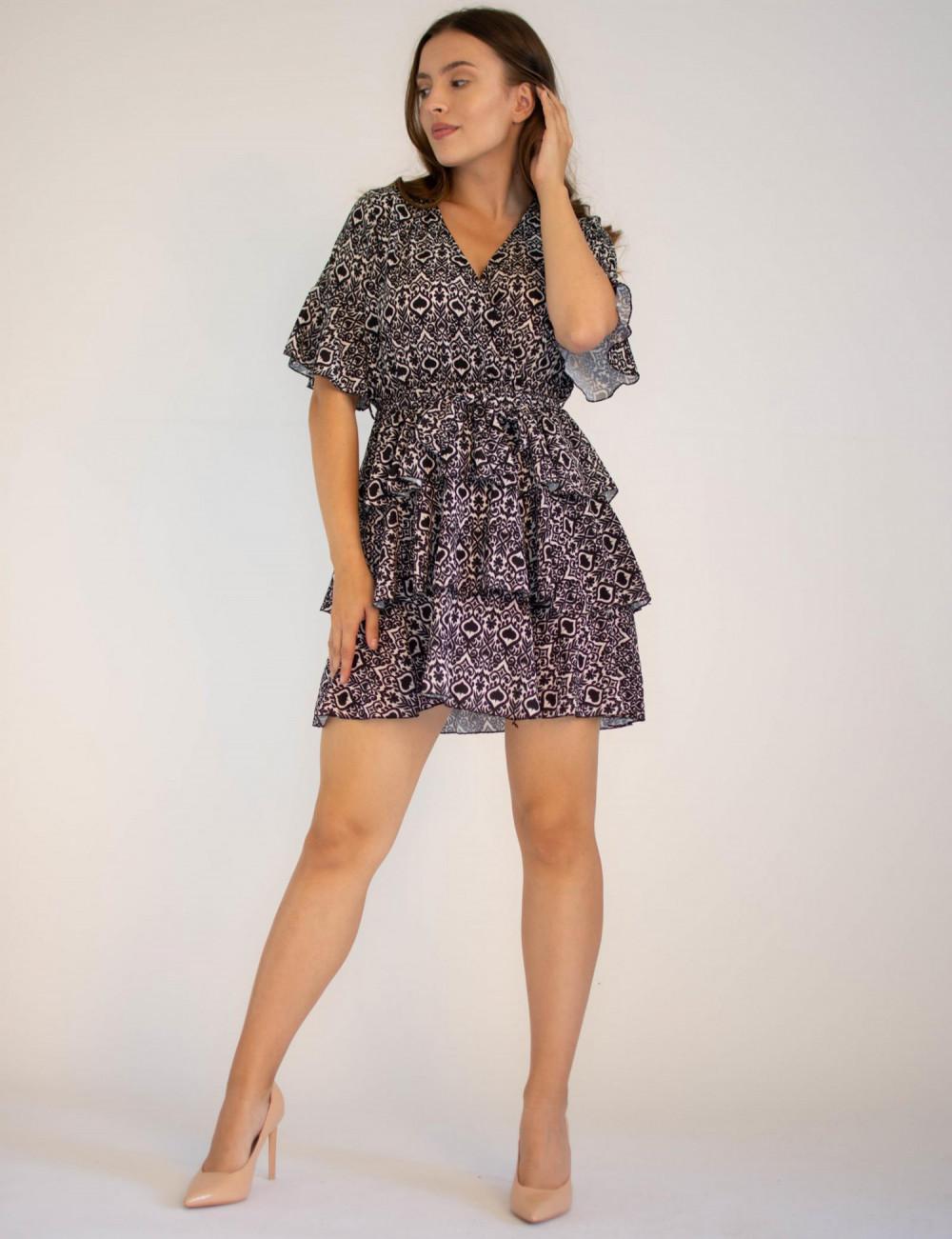 Sukienka z falbankami z motywem karty pik Susanne 3