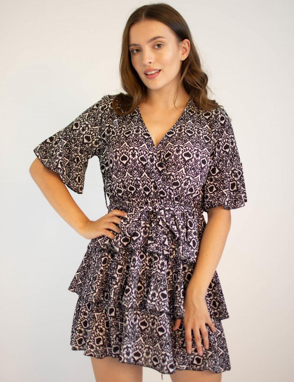 Sukienka z falbankami z motywem karty pik Susanne 4