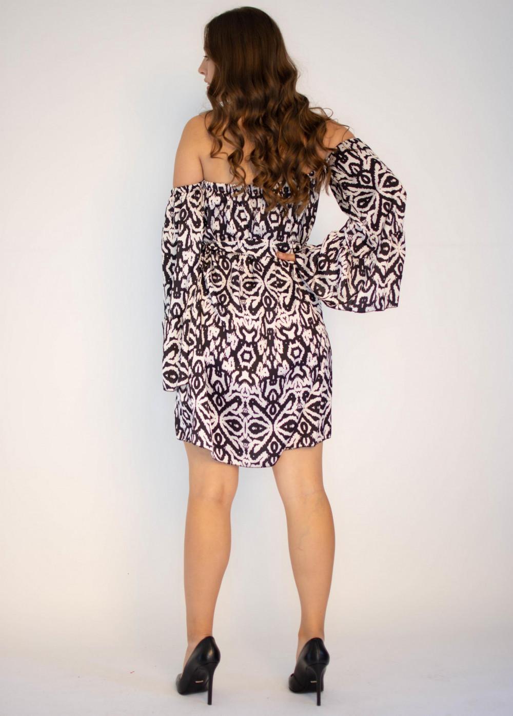 Sukienka z odkrytymi rękawami we wzorami Frances 1