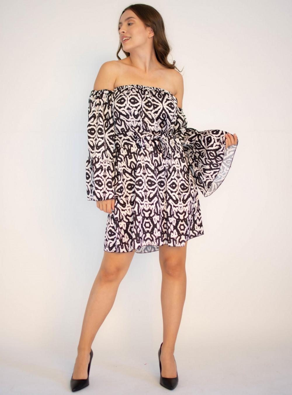 Sukienka z odkrytymi rękawami we wzorami Frances 3