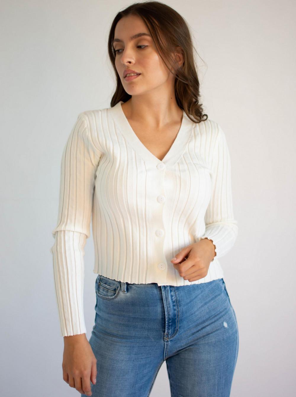 Sweter damski klasyczny z guzikami rozpinany Lauren 1