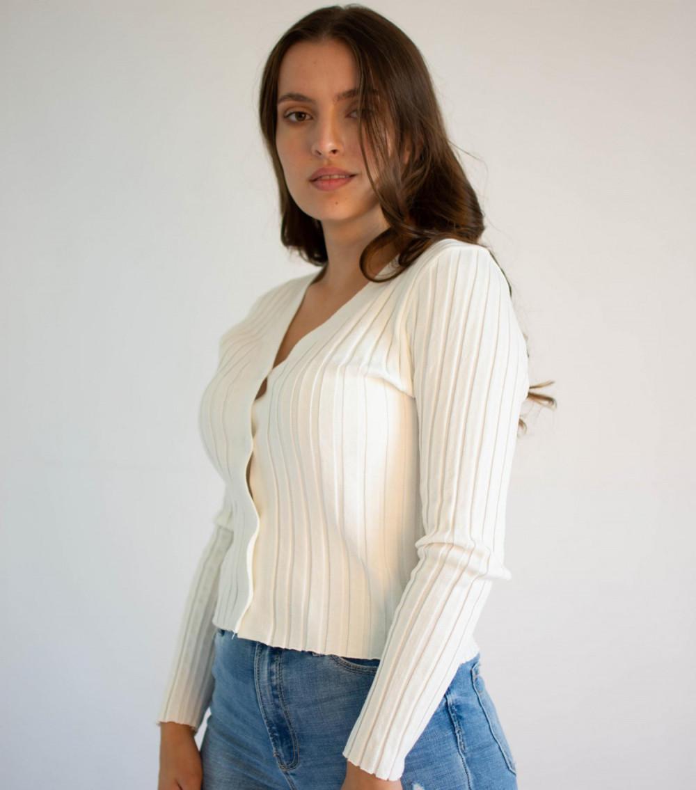 Sweter damski klasyczny z guzikami rozpinany Lauren 3