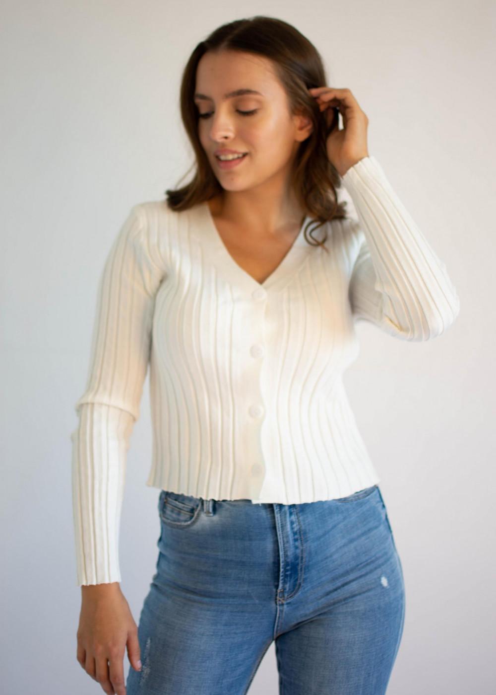 Sweter damski klasyczny z guzikami rozpinany Lauren 4