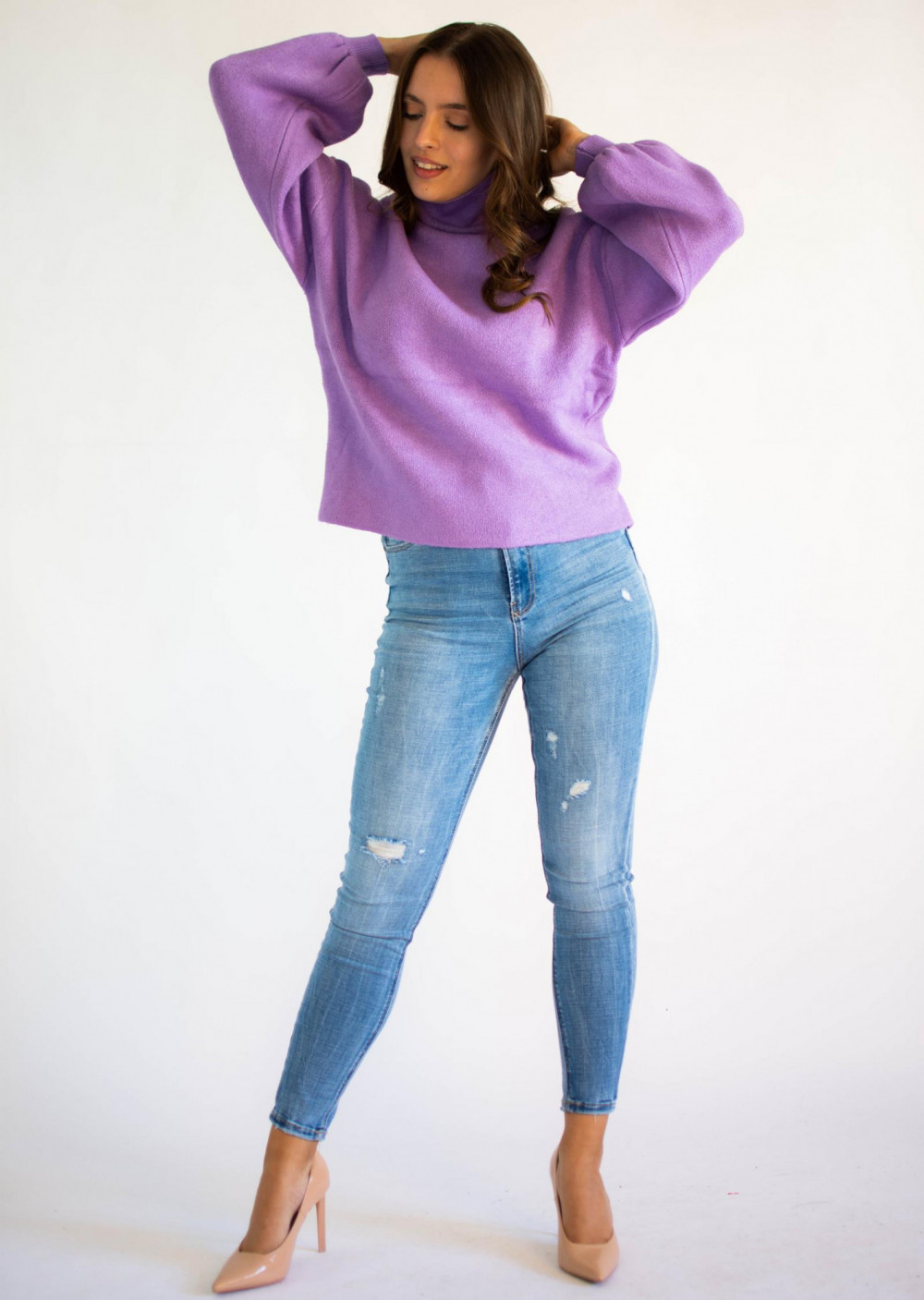 Sweter damski z golfem lilac Isabella 1