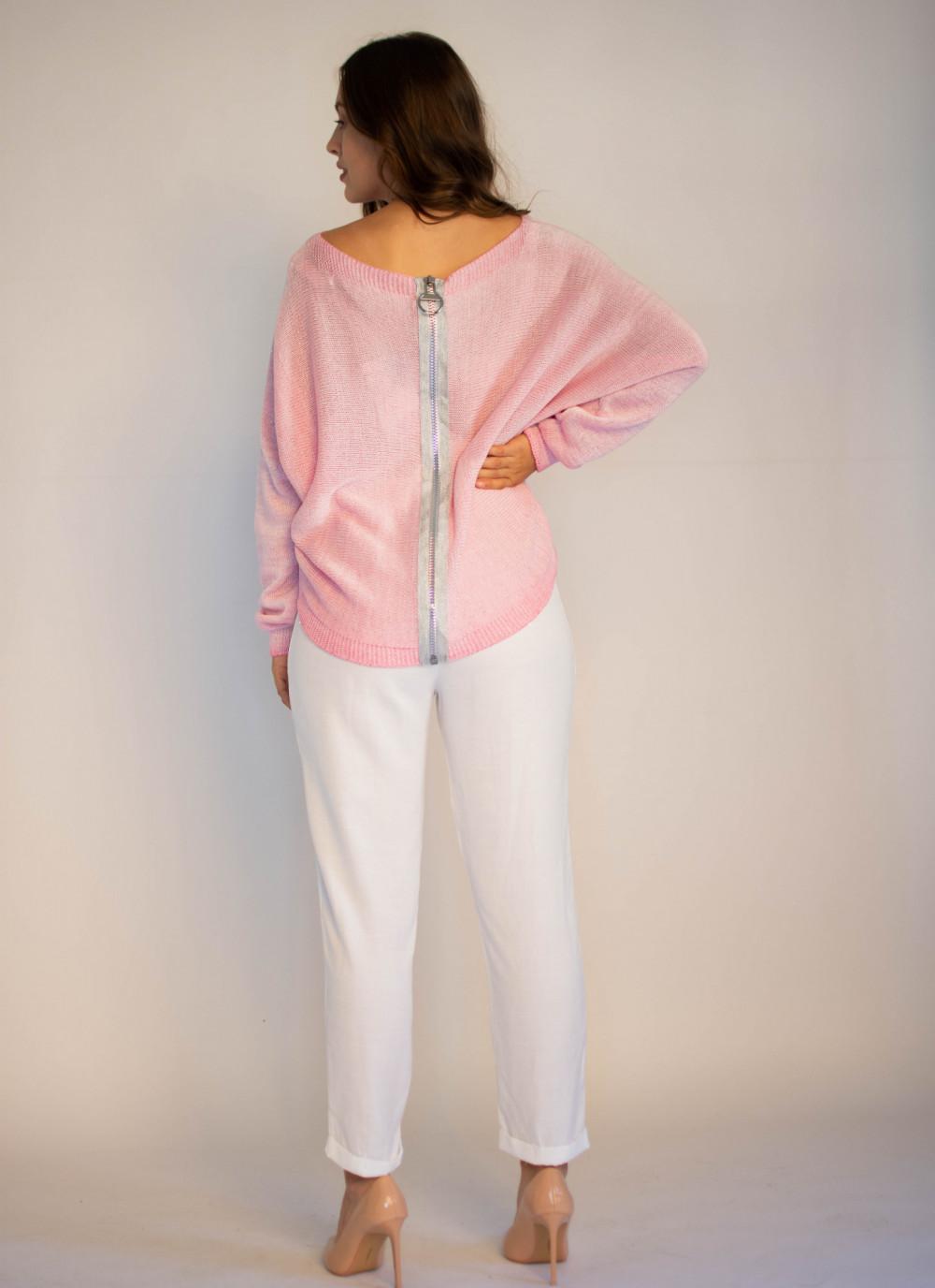 Sweter damski różowy z zamkiem na plecach Luise 1