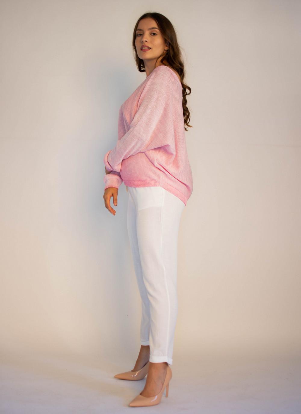 Sweter damski różowy z zamkiem na plecach Luise 2