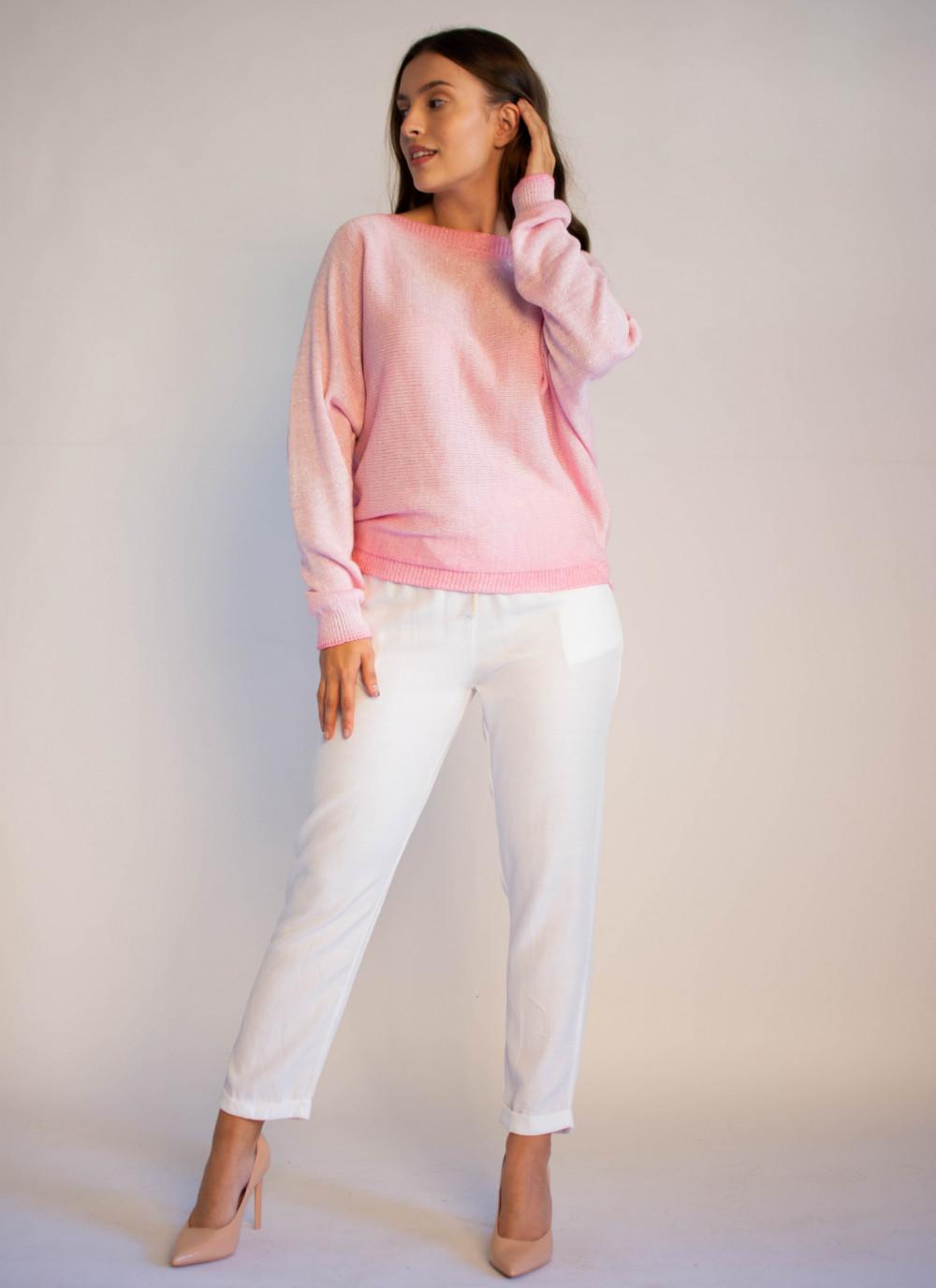 Sweter damski różowy z zamkiem na plecach Luise 3