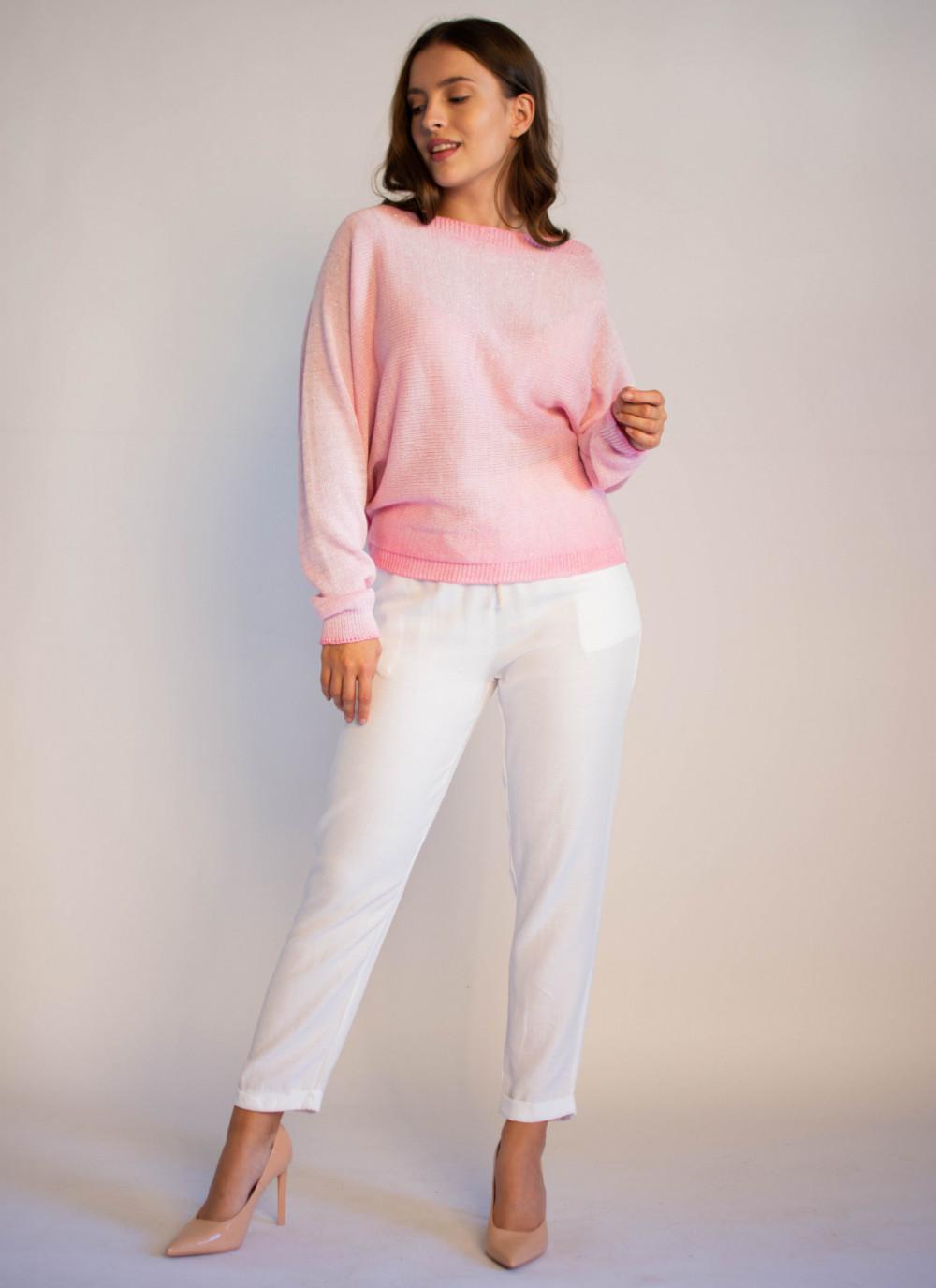 Sweter damski różowy z zamkiem na plecach Luise 4