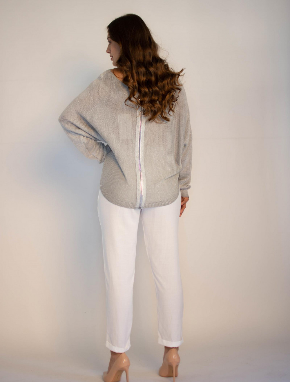 Sweter damski szary z zamkiem na plecach Justine 4