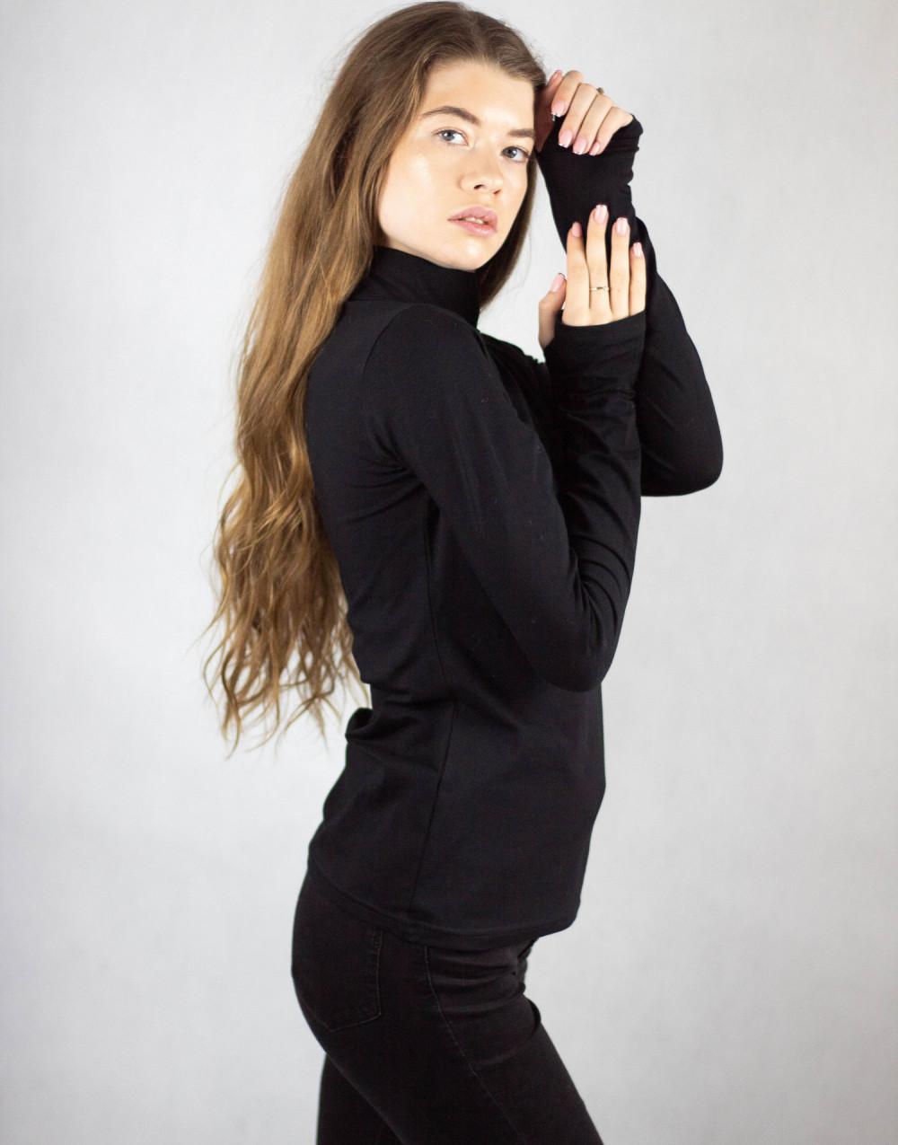 Czarna bluzka z golfem Ashley 3