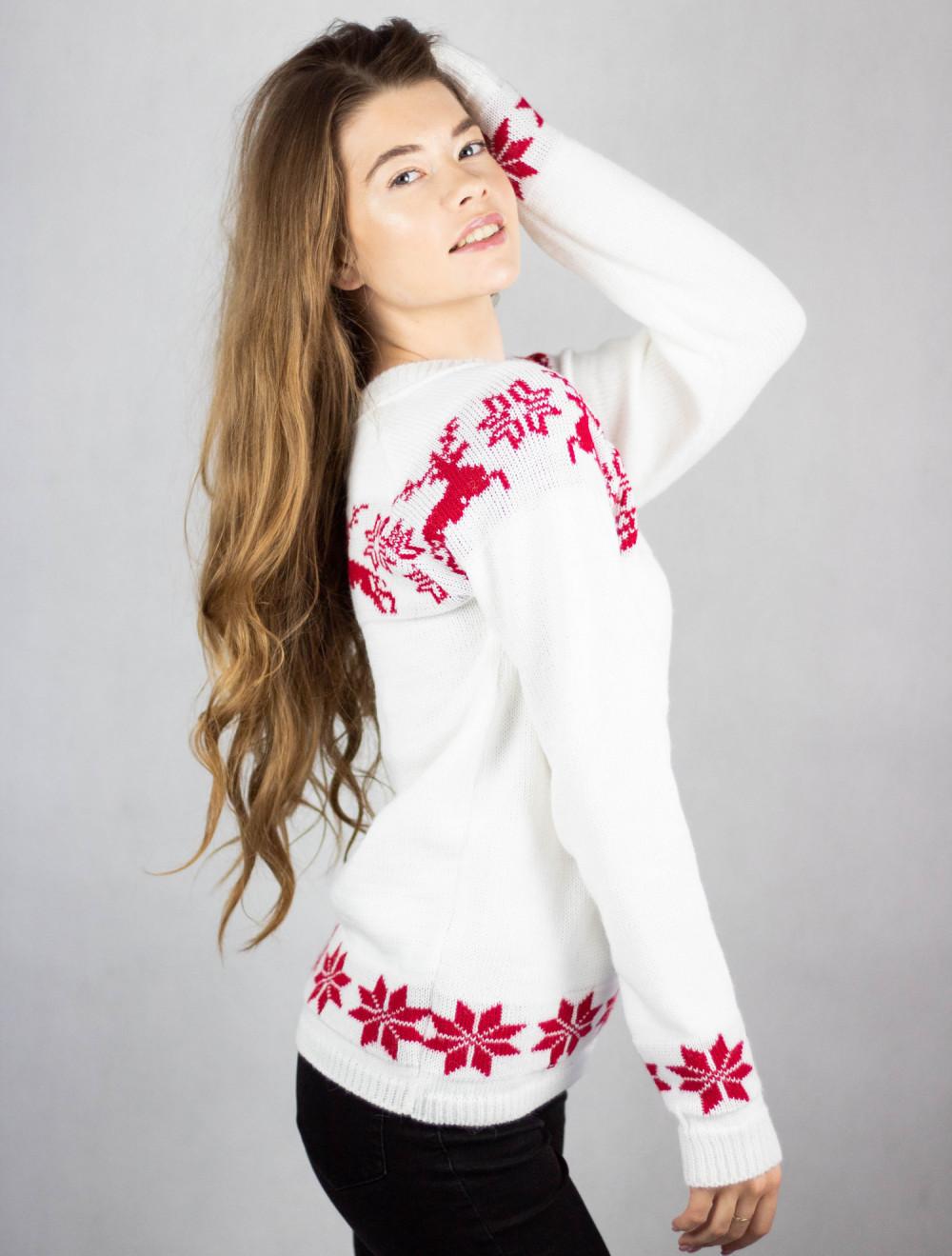 Sweter świąteczny biały Renifer 2