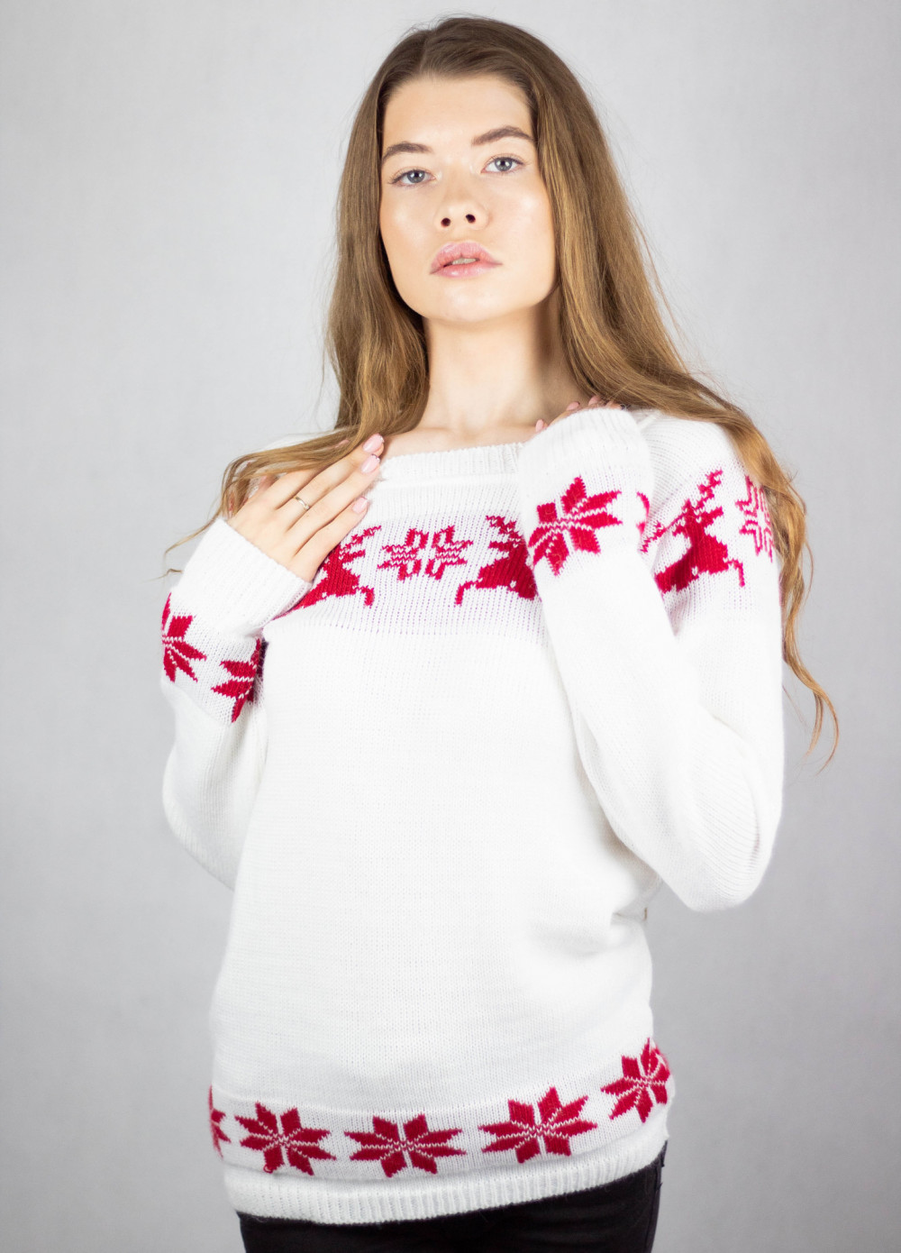 Sweter świąteczny biały Renifer 4