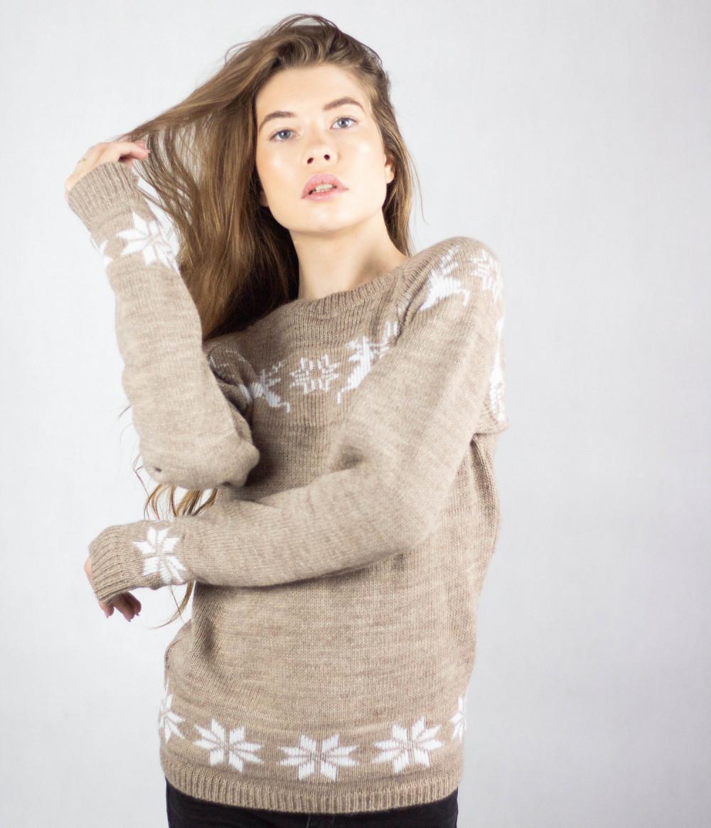 Sweter świąteczny brązowy Renifer 1
