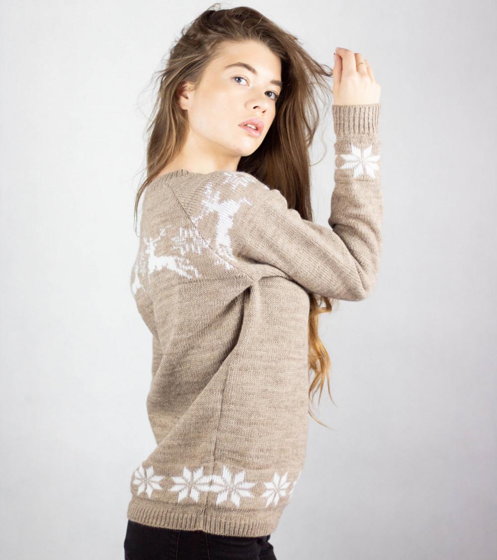 Sweter świąteczny brązowy Renifer 2