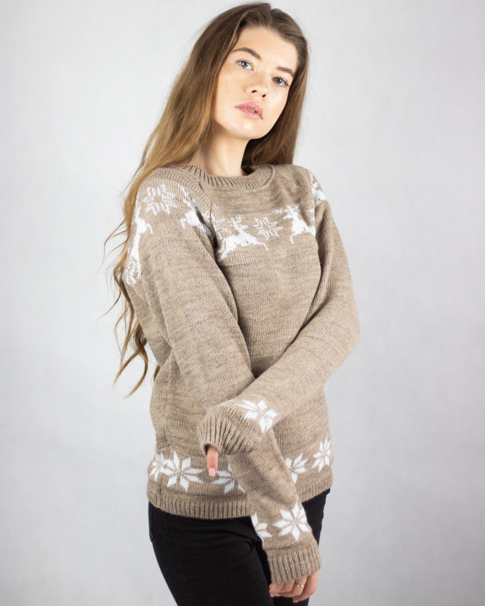 Sweter świąteczny brązowy Renifer 4