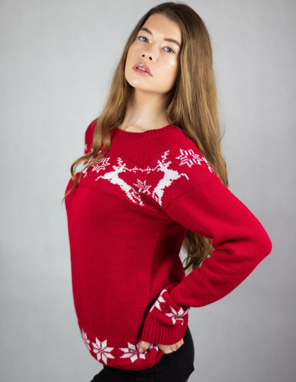 Sweter świąteczny czerwony Renifer 2