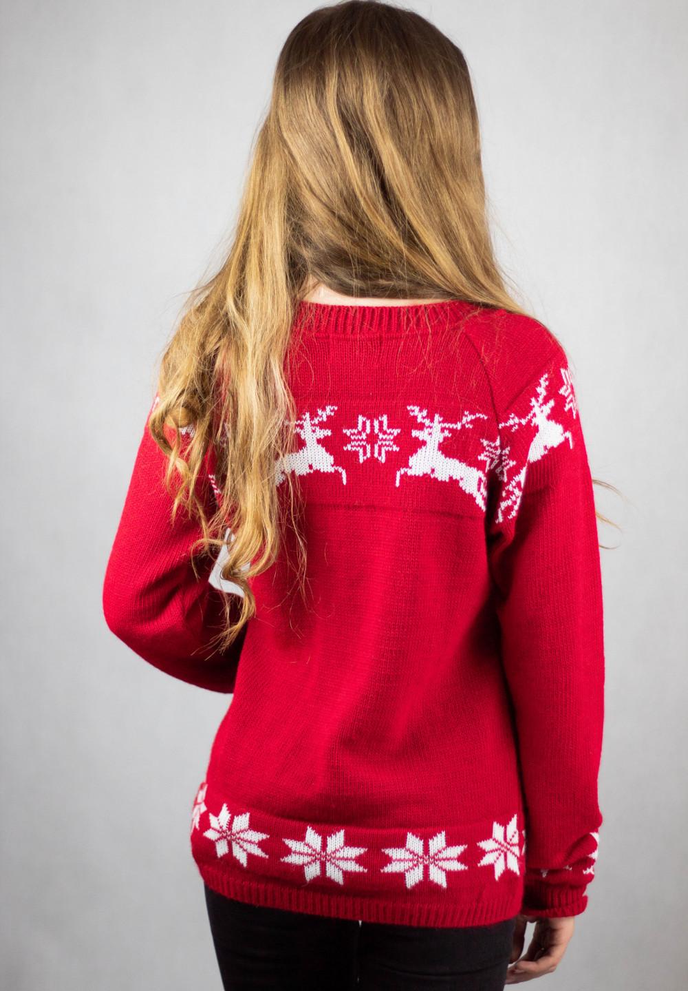 Sweter świąteczny czerwony Renifer 3