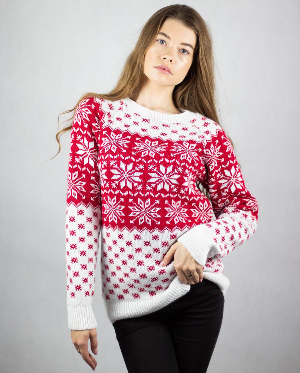 Biały świąteczny sweter Snow 1