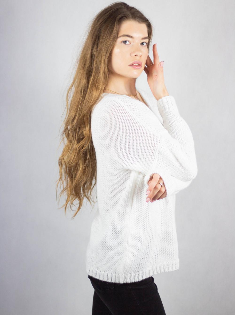 Biały sweter V-Neck Mona 1