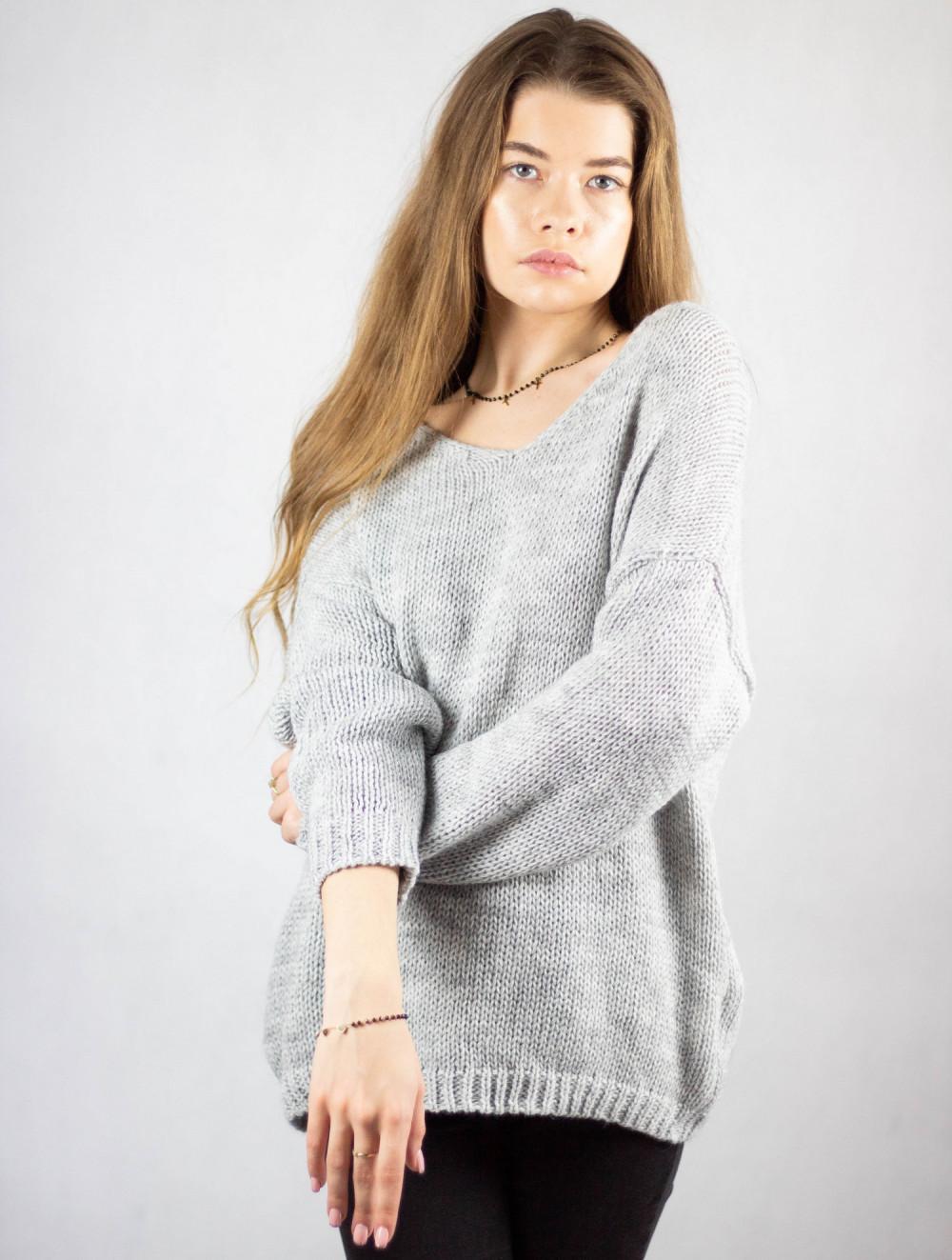 Szary sweter V-Neck Mona 4