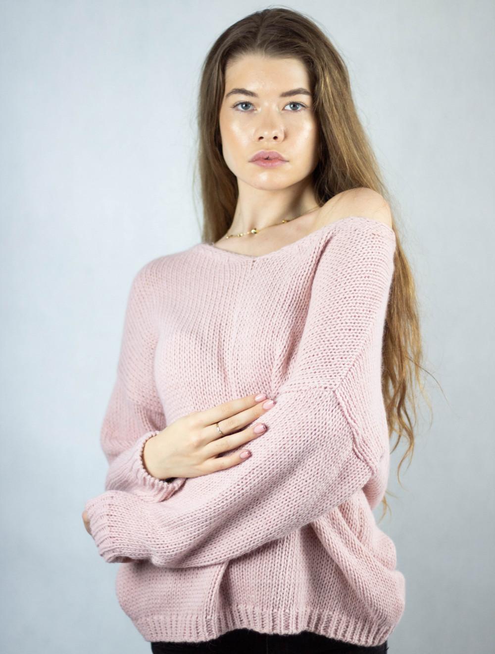 Różowy sweter V-Neck Mona 2