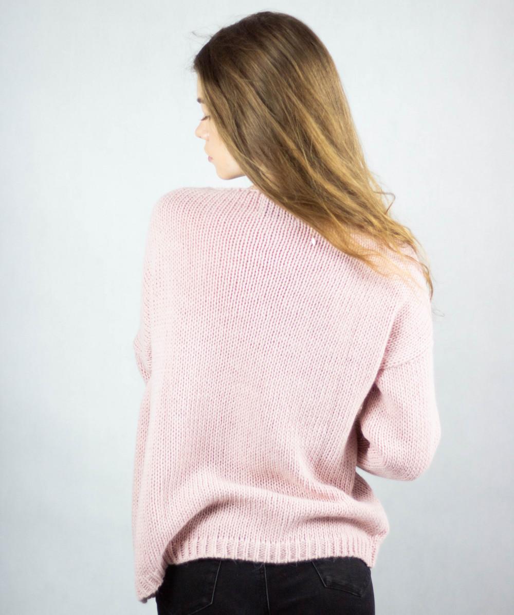 Różowy sweter V-Neck Mona 3