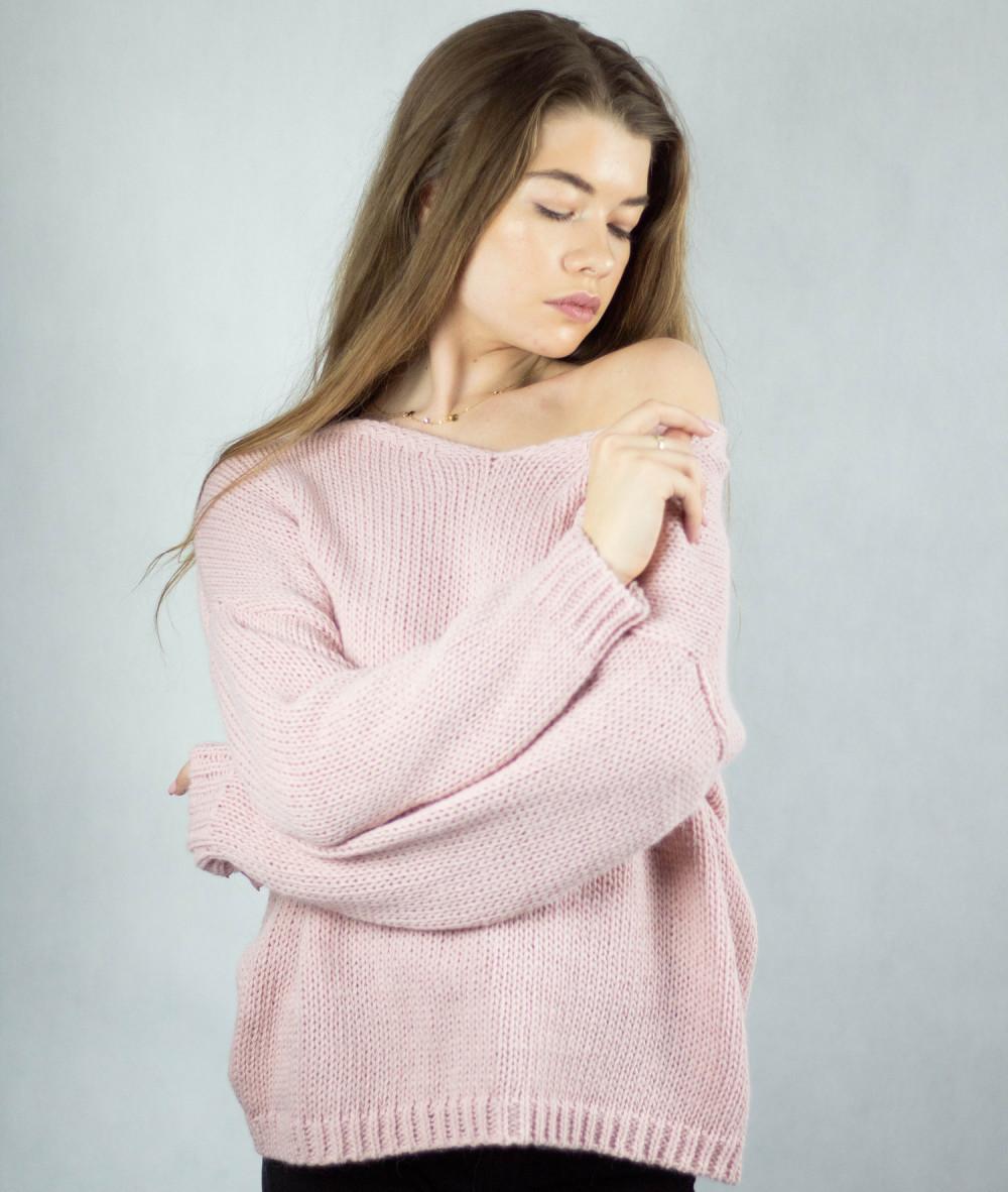 Różowy sweter V-Neck Mona 4