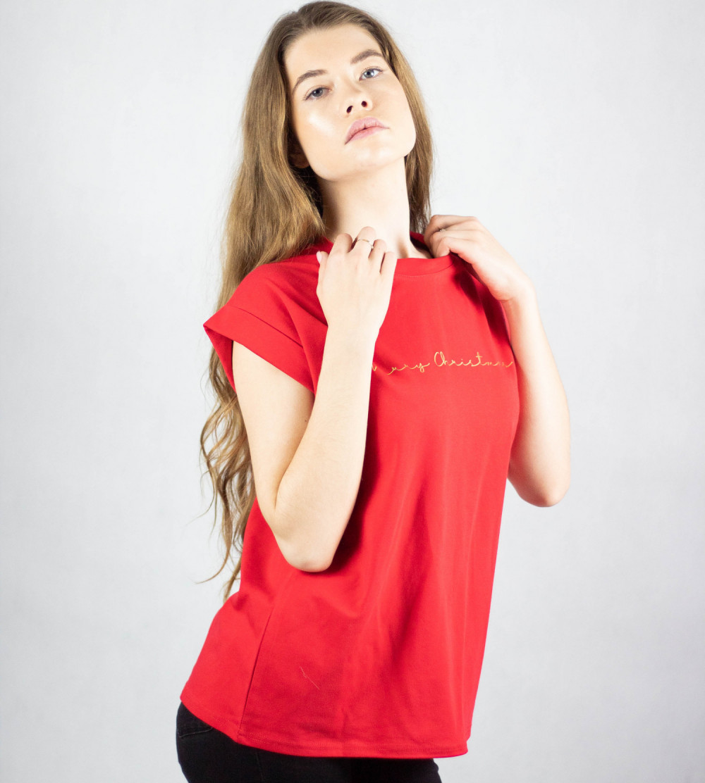 Koszulka czerwona Merry Christmas 2