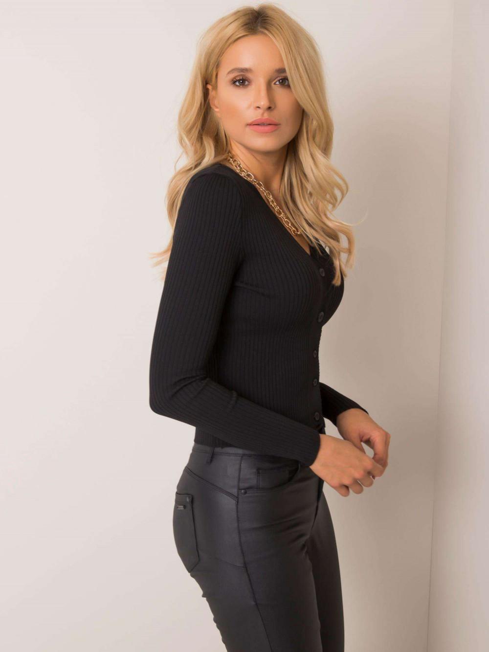 Czarny sweter rozpinany Cannes 2