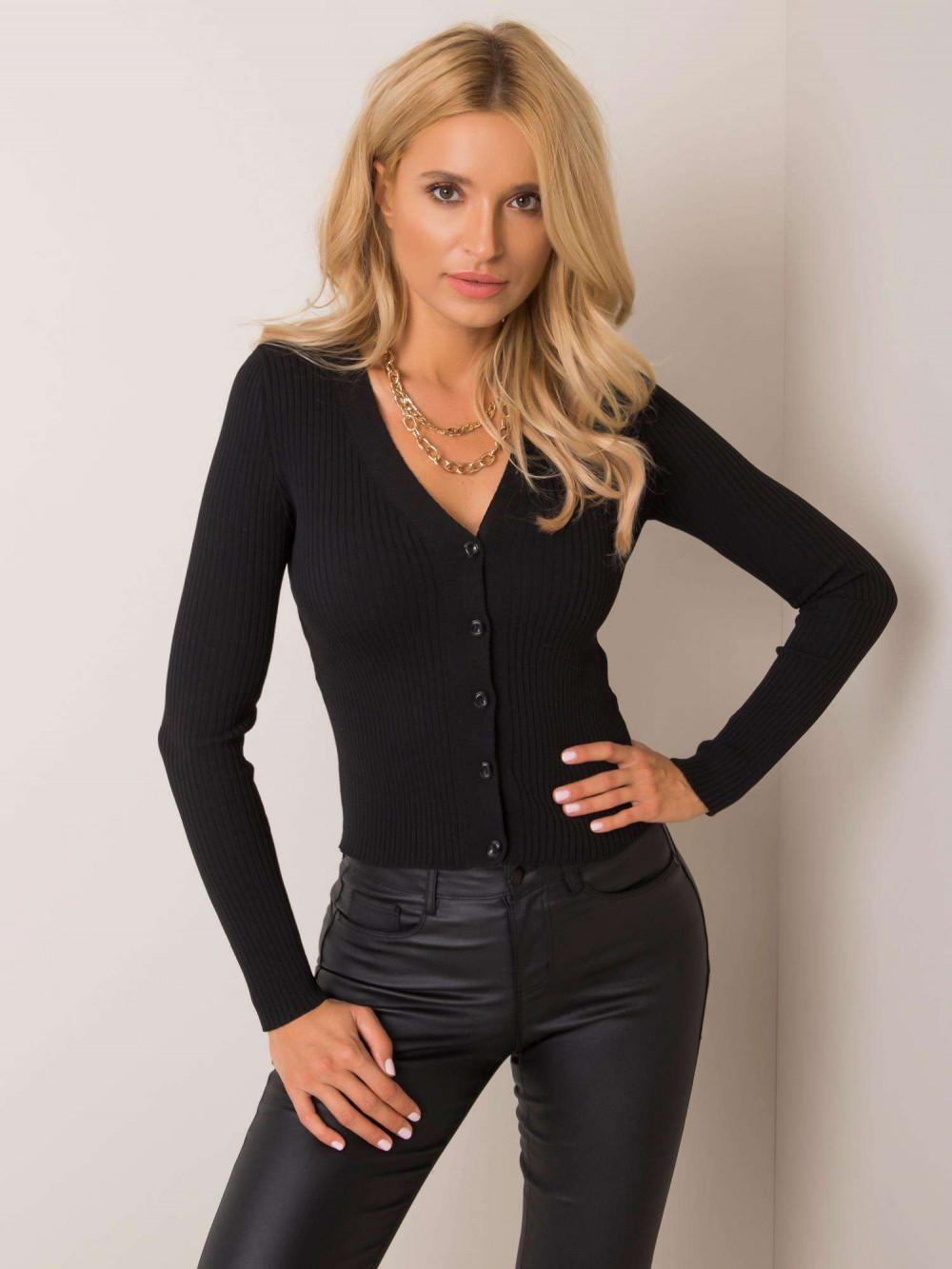 Czarny sweter rozpinany Cannes 3