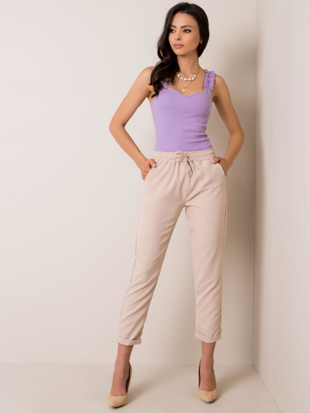 Beżowe spodnie materiałowe Evry 2