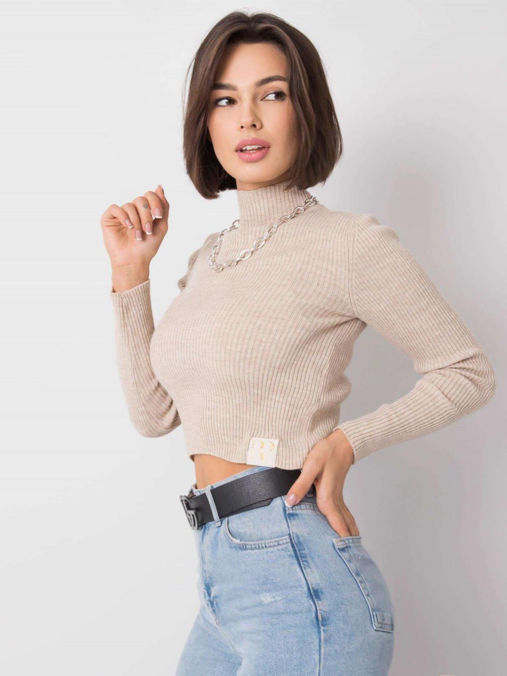 Beżowy sweter crop top Grassie 1