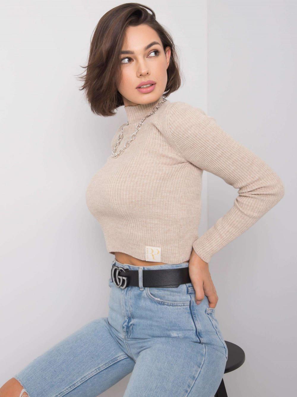 Beżowy sweter crop top Grassie 3