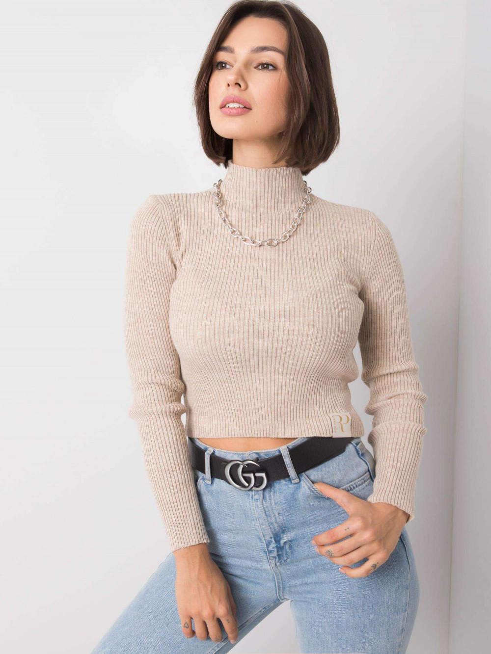 Beżowy sweter crop top Grassie 4
