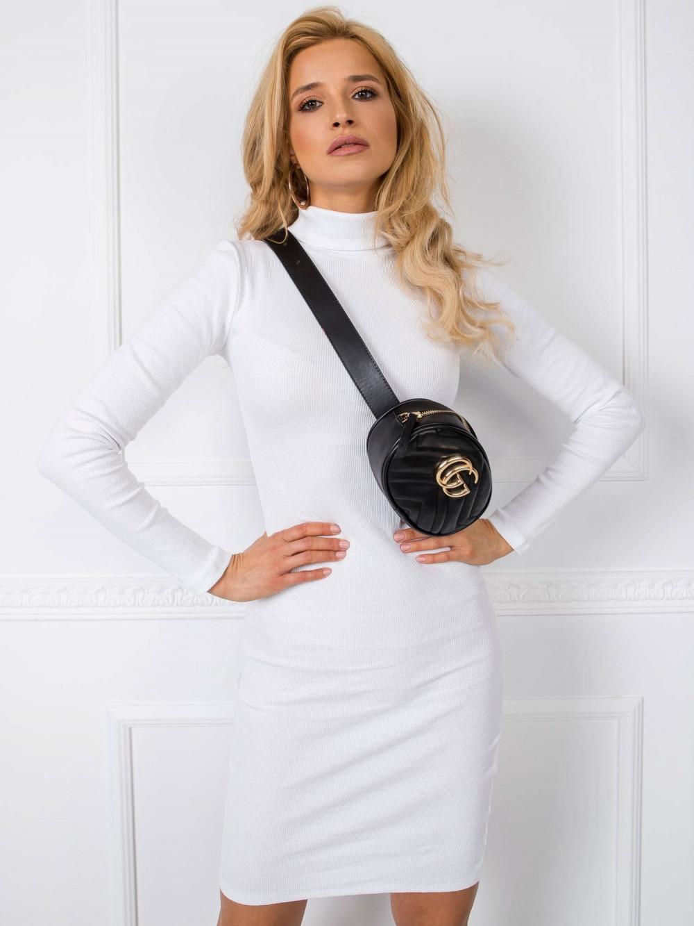 Biała dopasowana sukienka z golfem Valence 3