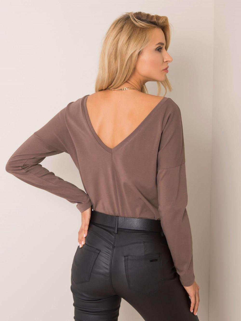 Brązowa bluzka z wycięciem na plecach Voiron 3