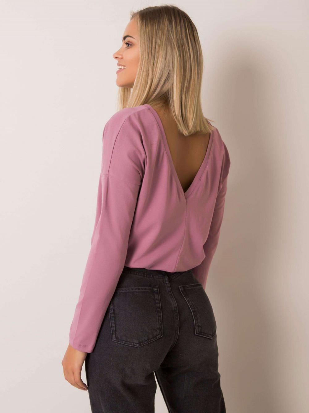 Brudnoróżowa bluzka z wycięciem na plecach Sevran 4