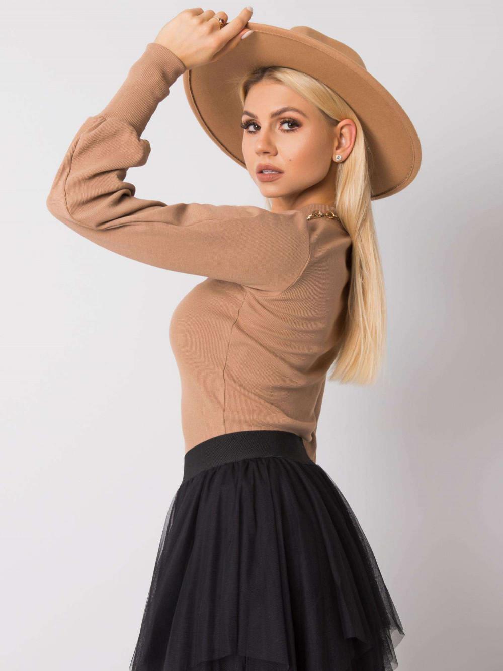 Karmelowa bluza z bufiastymi rękawami Versal 2