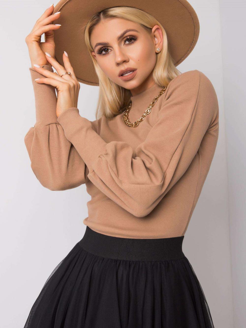 Karmelowa bluza z bufiastymi rękawami Versal 4