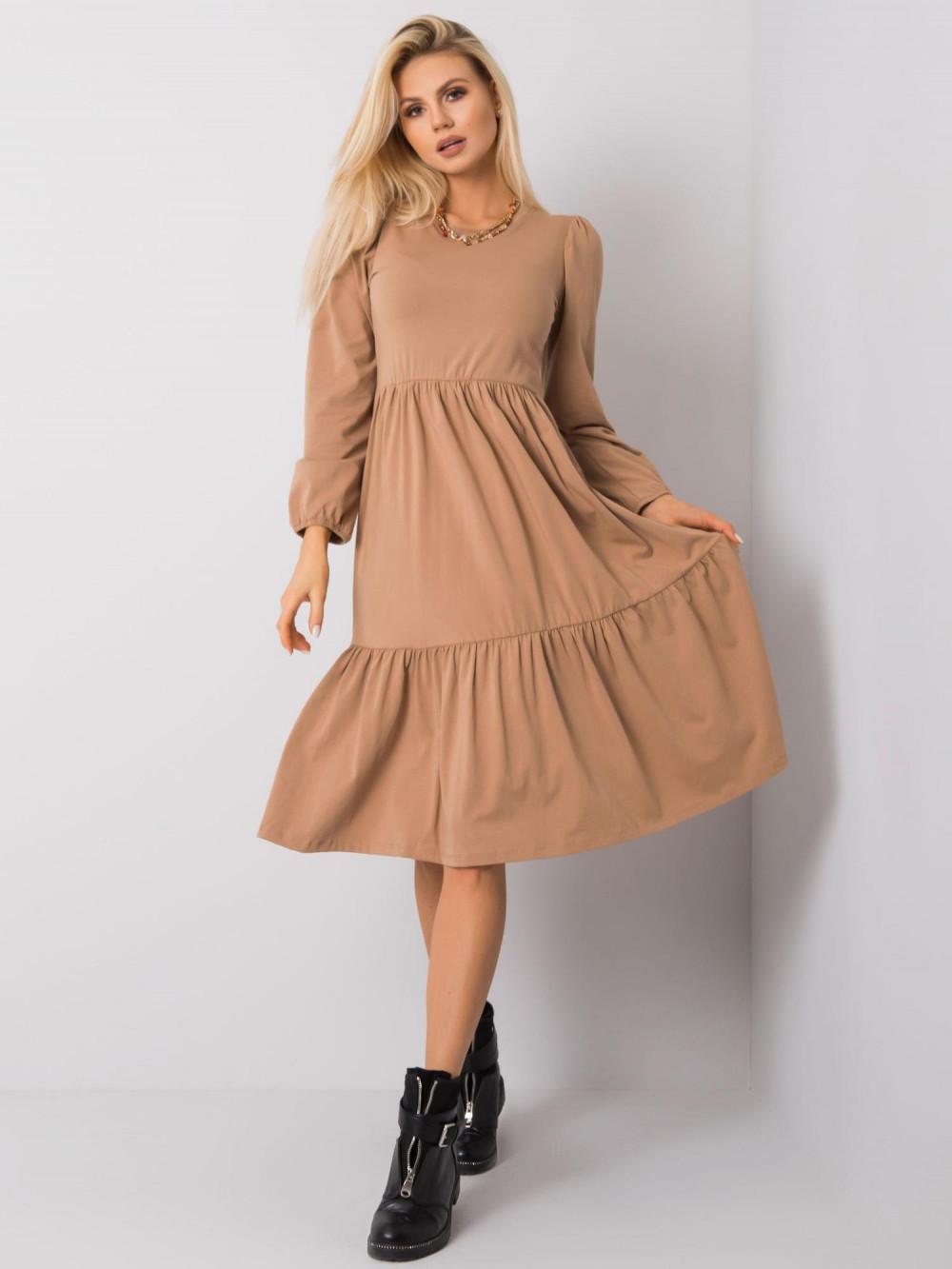 Karmelowa sukienka midi z falbankami Olivet 3