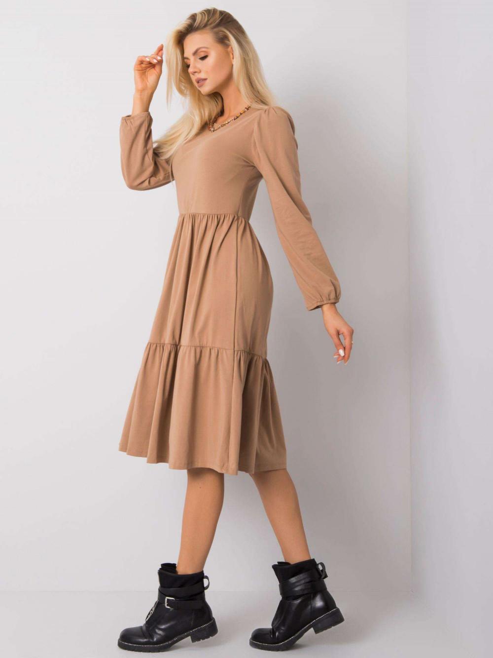 Karmelowa sukienka midi z falbankami Olivet 4