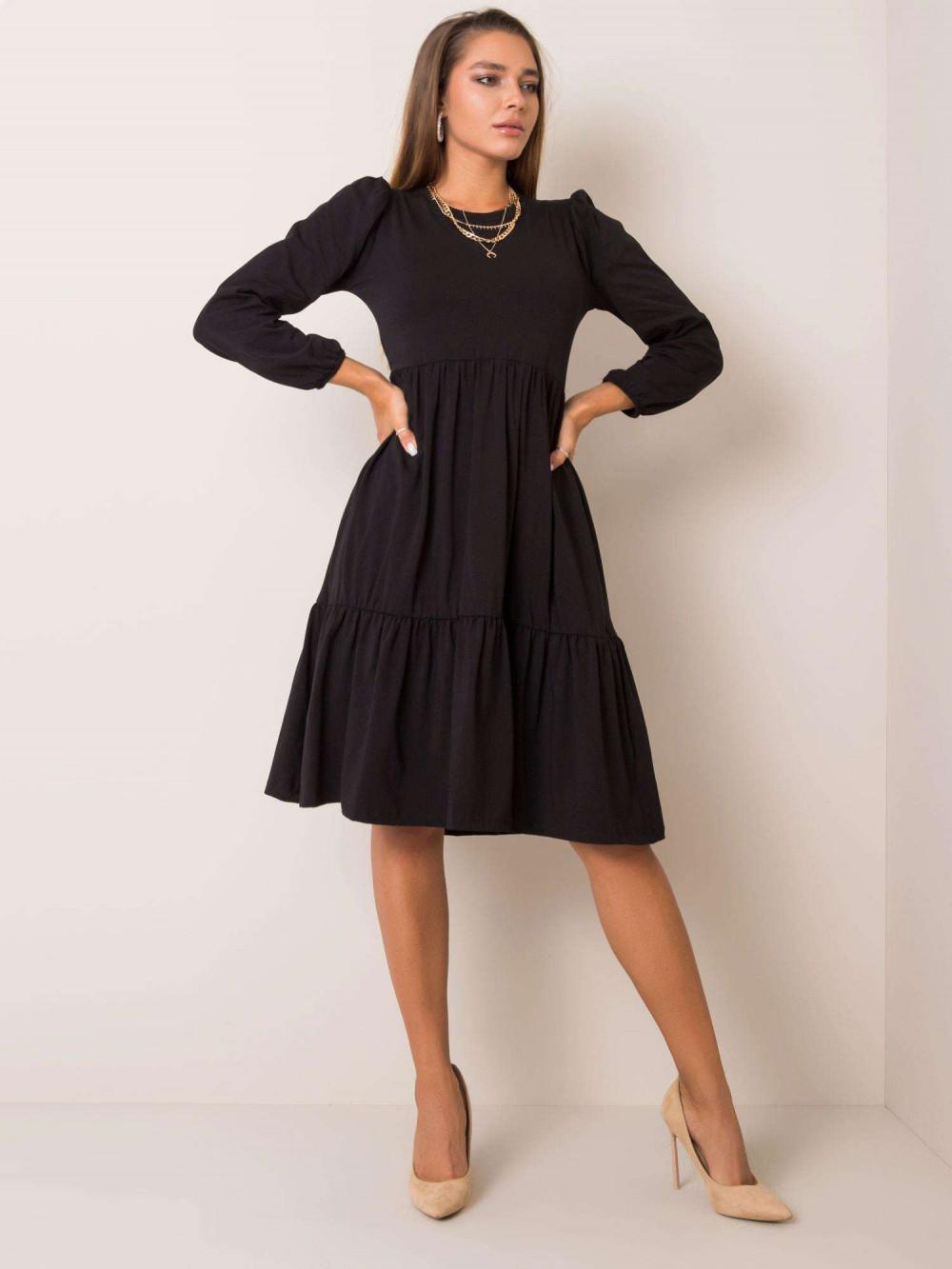Czarna sukienka midi z falbankami Sassari 1