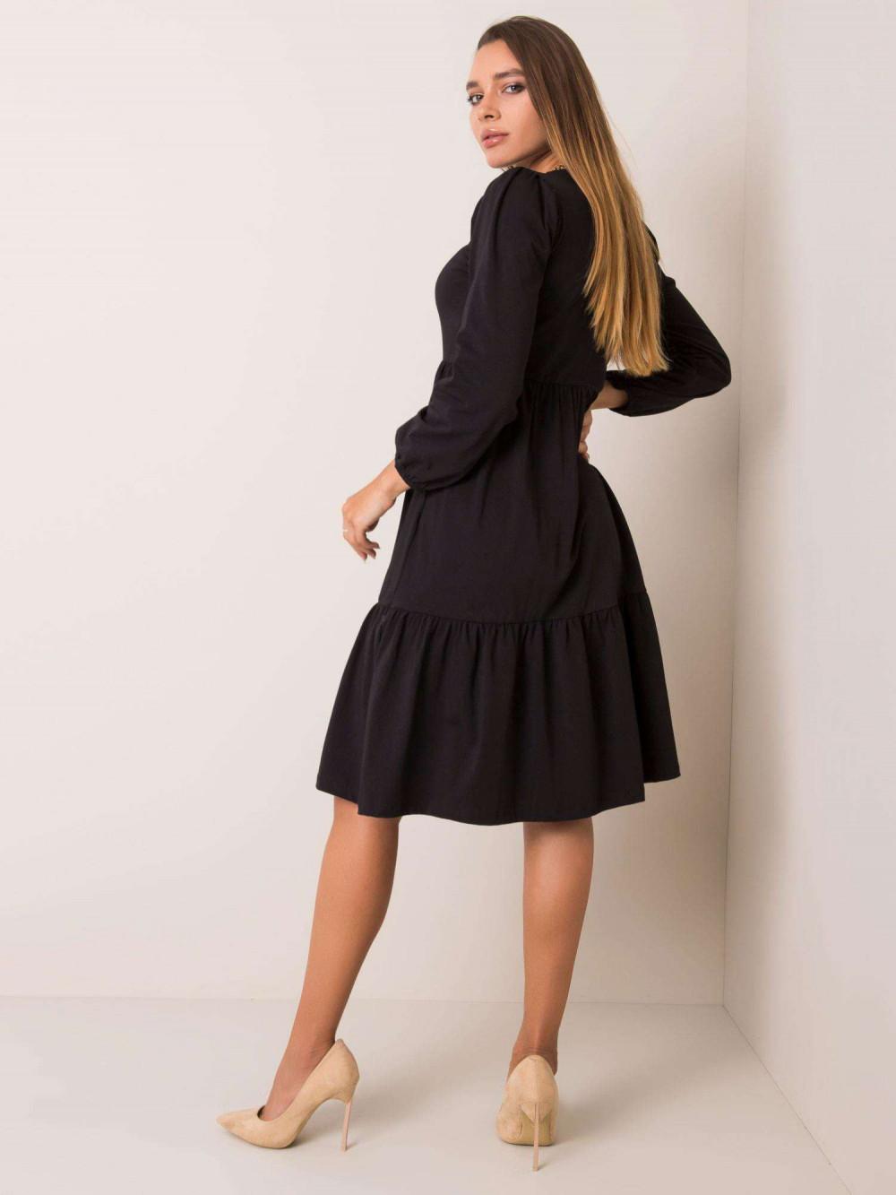 Czarna sukienka midi z falbankami Sassari 2