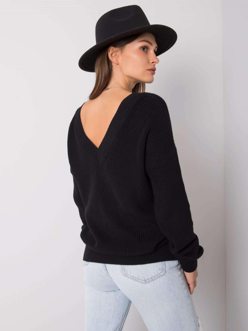 Czarny sweter V-Neck Uscio 3