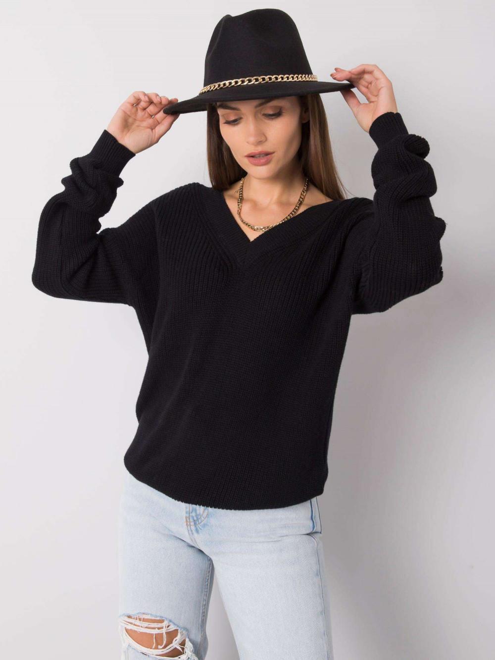 Czarny sweter V-Neck Uscio 5