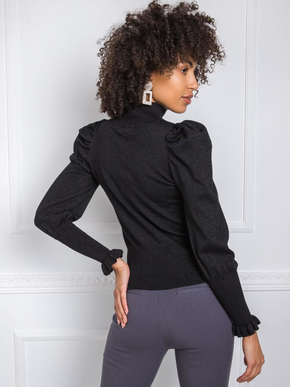 Czarny sweter z bufiastymi rękawami Sassari 1