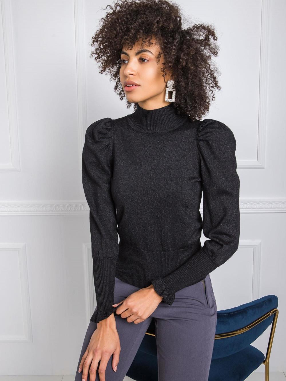 Czarny sweter z bufiastymi rękawami Sassari 2