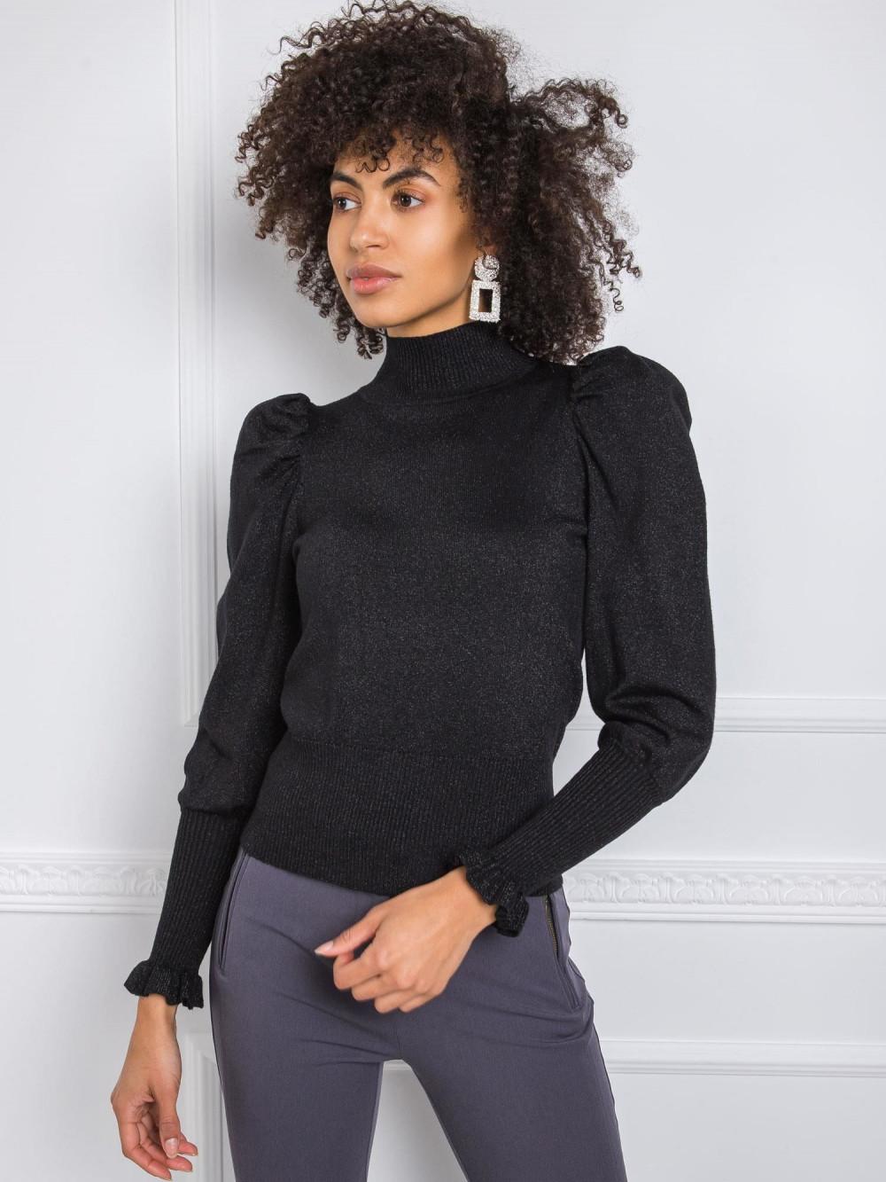 Czarny sweter z bufiastymi rękawami Sassari 3