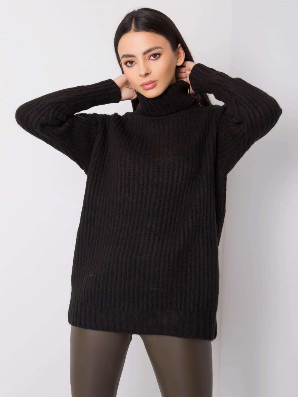 Czarny duży sweter z golfem Tivoli 5
