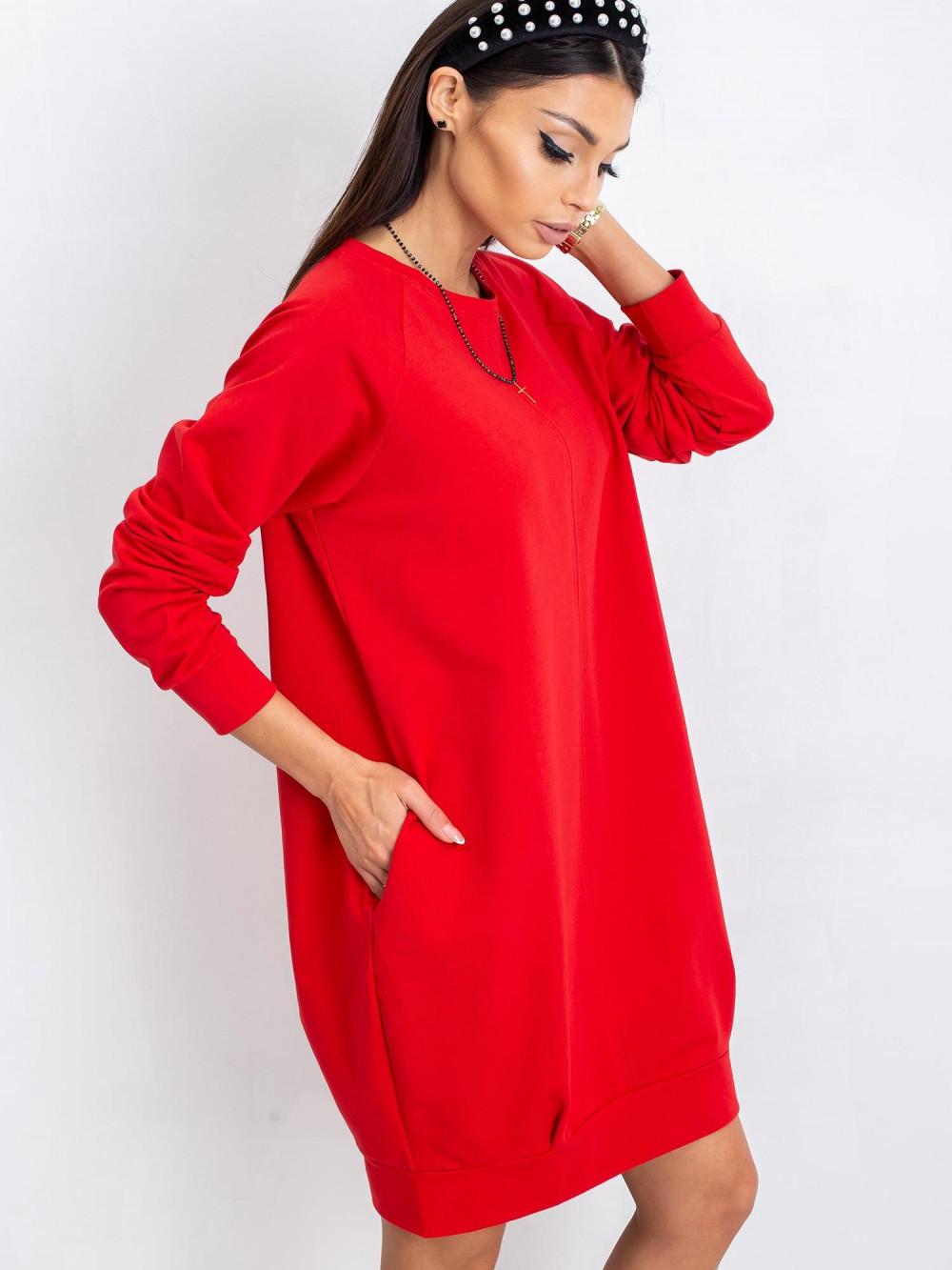 Czerwona sukienka bluza Lukka 1